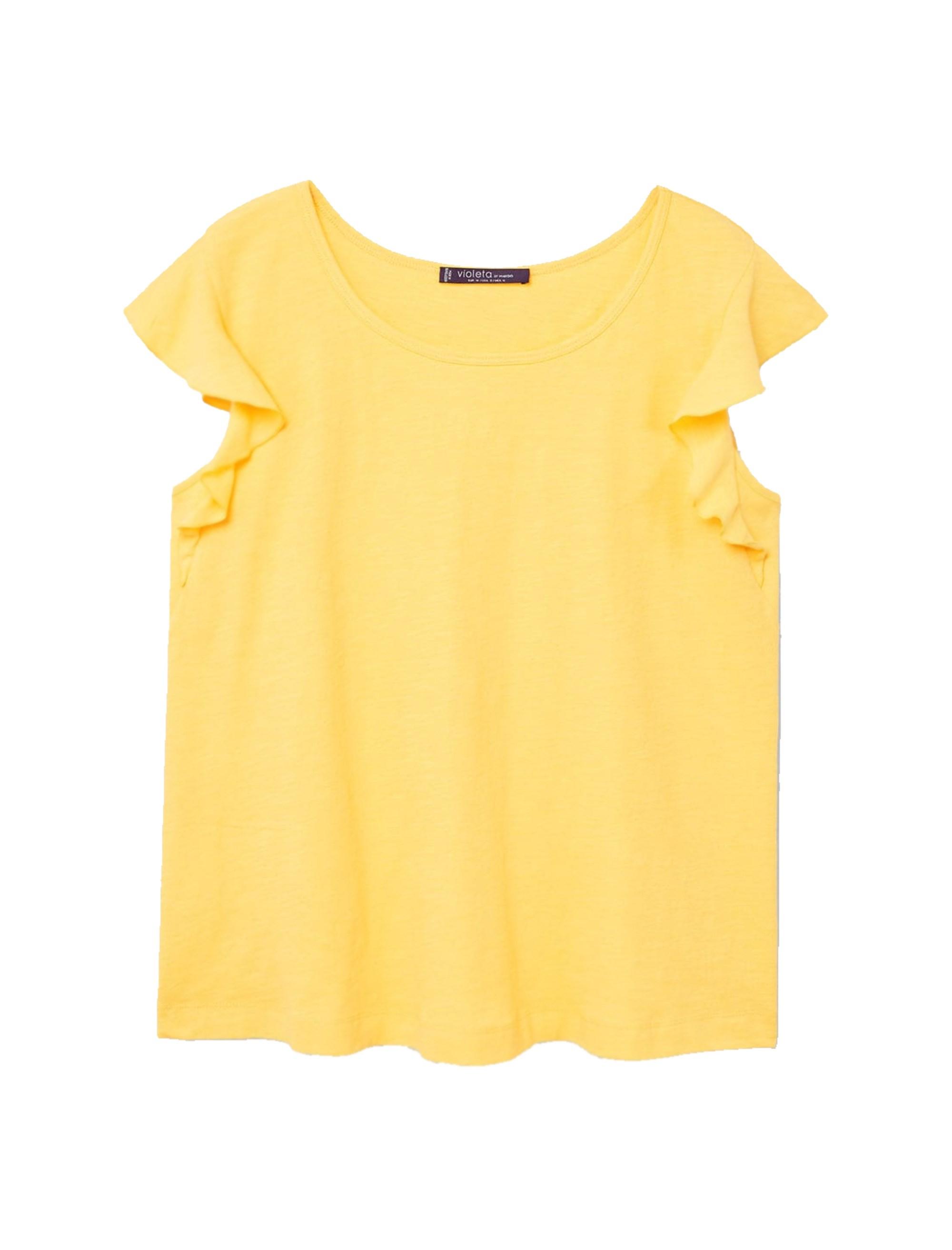 خرید تی شرت نخی یقه گرد زنانه - ویولتا بای مانگو