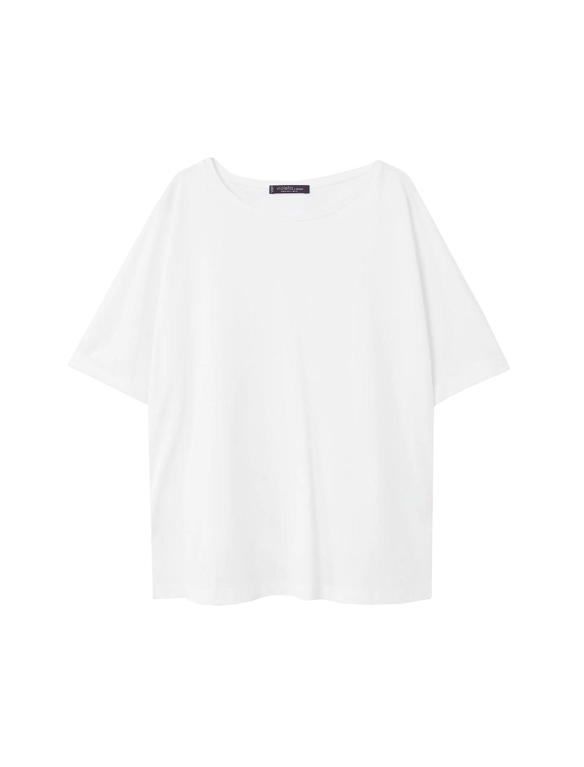 خرید تی شرت ویسکوز یقه گرد زنانه - ویولتا بای مانگو
