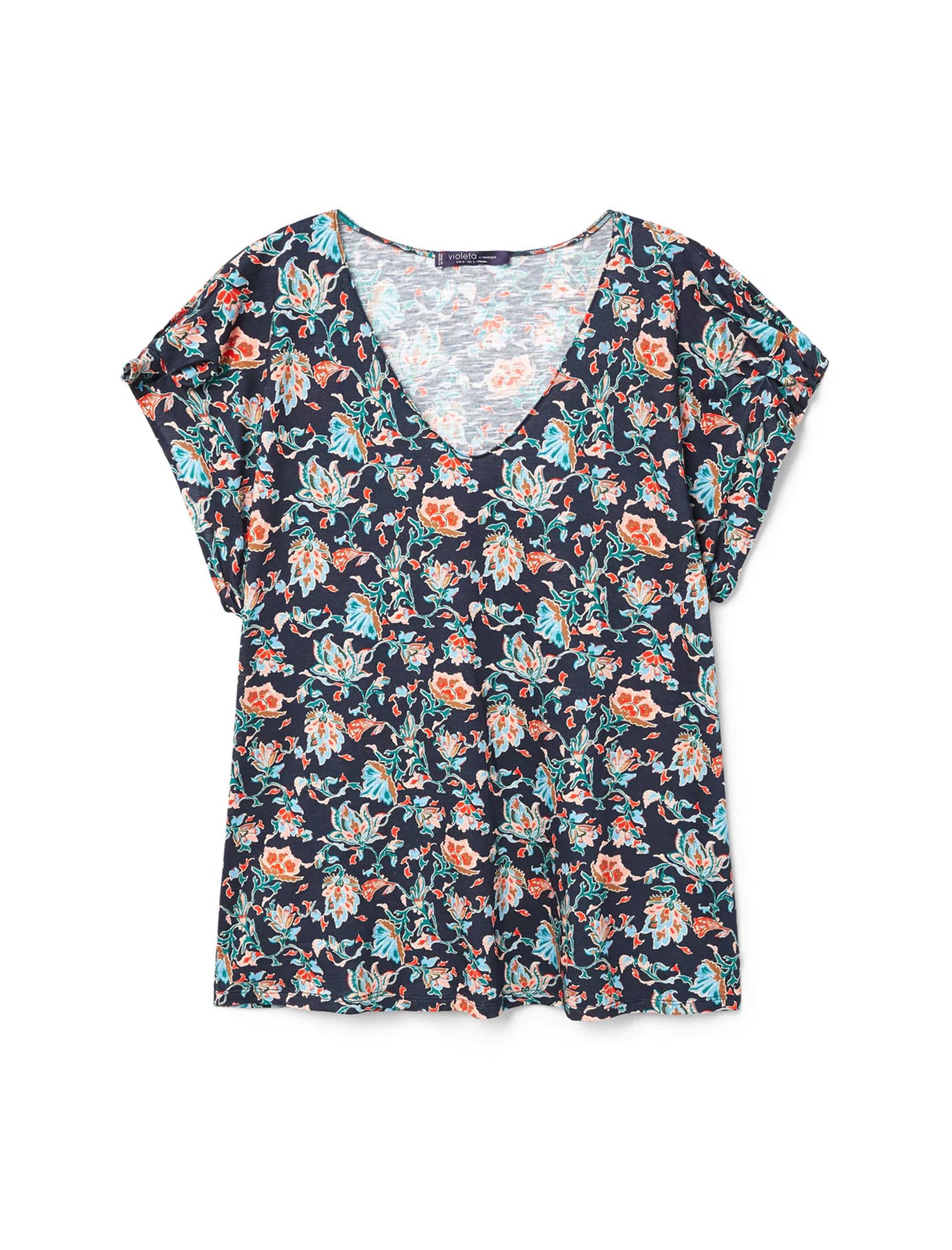 خرید تی شرت نخی یقه هفت  زنانه - ویولتا بای مانگو