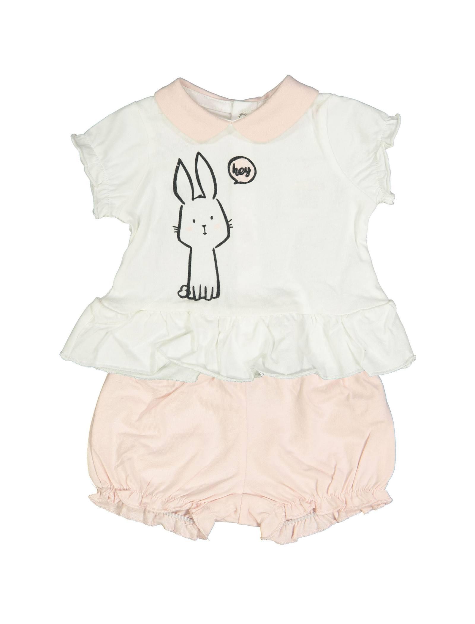 تی شرت و شلوارک نخی نوزادی دخترانه - بلوکیدز - سفيد/صورتي - 1