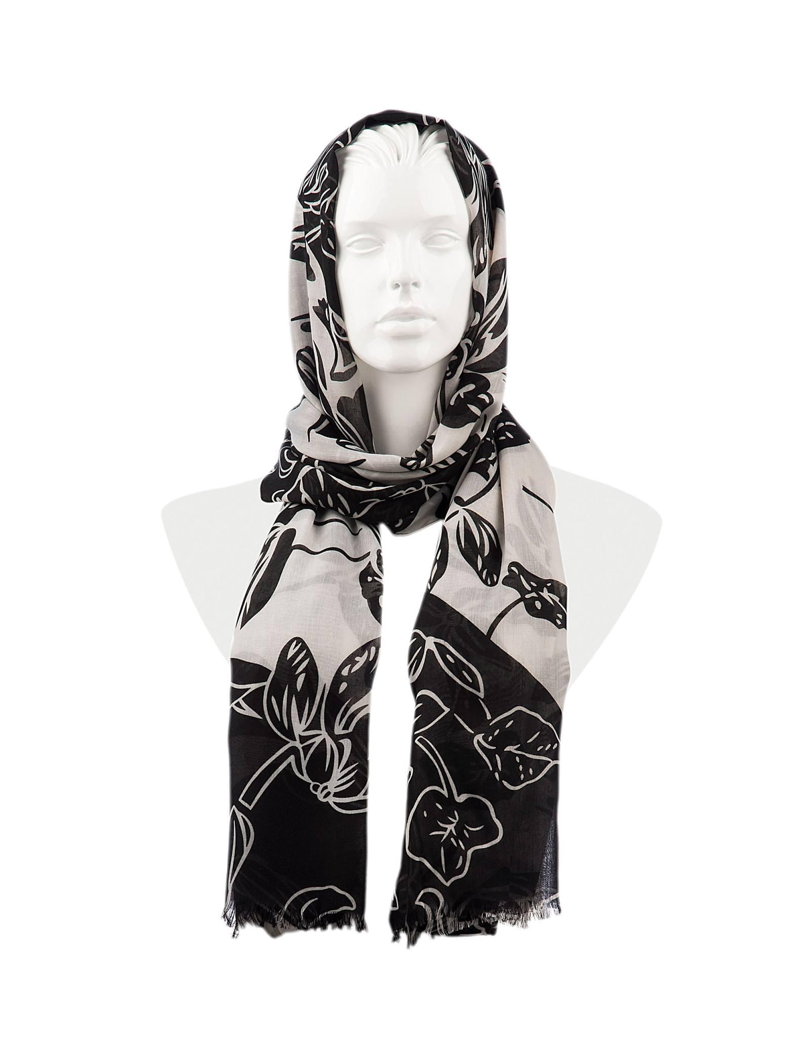 شال نخی زنانه - رزتی - سفيد و مشکي - 1