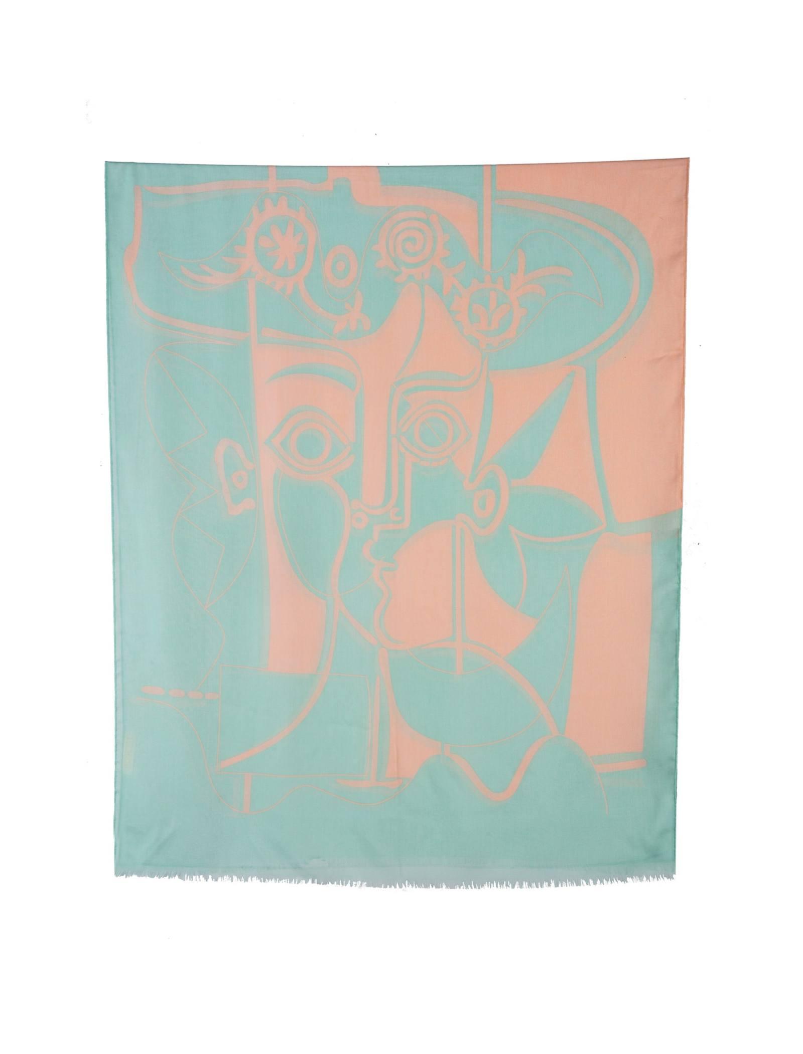 شال نخی زنانه - رزتی - گلبهي و سبز روشن - 1