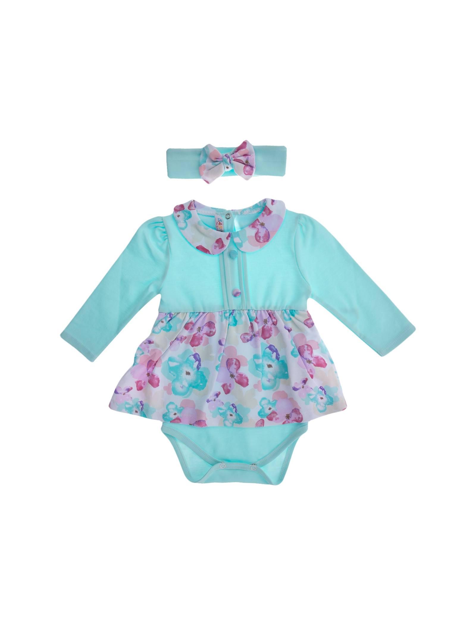 پیراهن نخی آستین بلند نوزادی دخترانه - بی بی ناز - چند رنگ - 1
