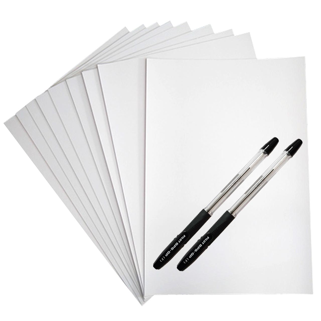 کاغذ A4 کد 10 بسته 10 عددی به همراه خودکار پایلوت مدل BPS-GP  بسته دو عددی