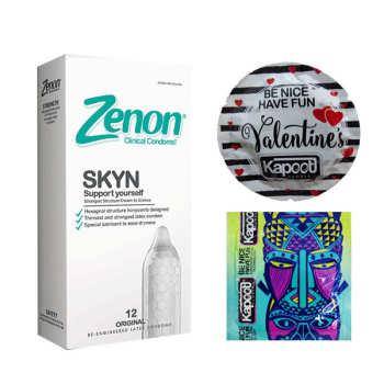 کاندوم زنون مدل SKIN بسته 12 عددی  به همراه کاندوم کاپوت مجموعه 2 عددی