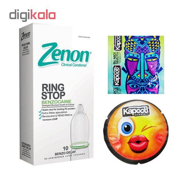 کاندوم زنون مدل RING STOP بسته 12 عددی  به همراه کاندوم کاپوت مجموعه 2 عددی