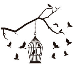استیکر چوبی ژیوار طرح قفس و پرنده