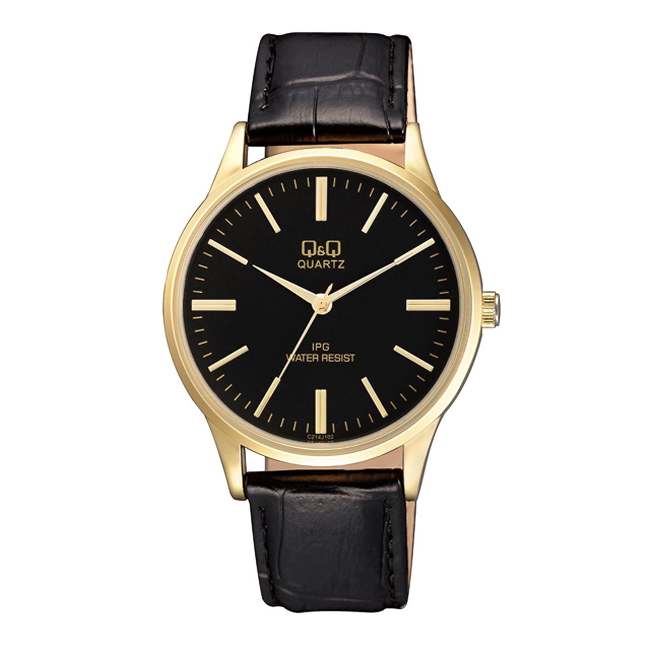 ساعت مچی عقربه ای مردانه کیو اند کیو مدل C214J102Y به همراه دستمال مخصوص برند کلین واچ 43