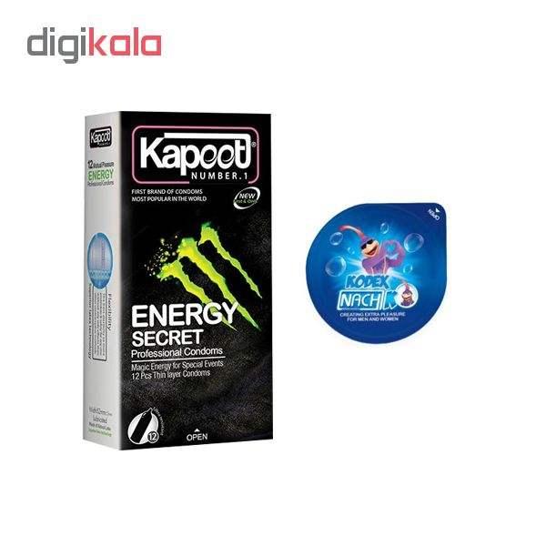 کاندوم کاپوت مدل ENERGY SECRET بسته 12 عددی  به همراه کاندوم ناچ کدکس مدل بلیسر main 1 1