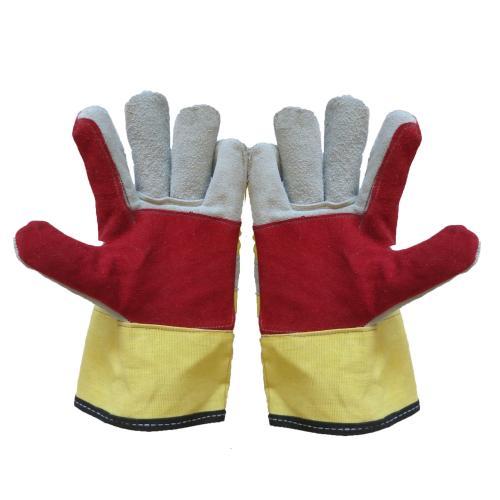 دستکش ایمنی کف دوبل چرم اشبالتی مدل 091 بسته 3 جفتی