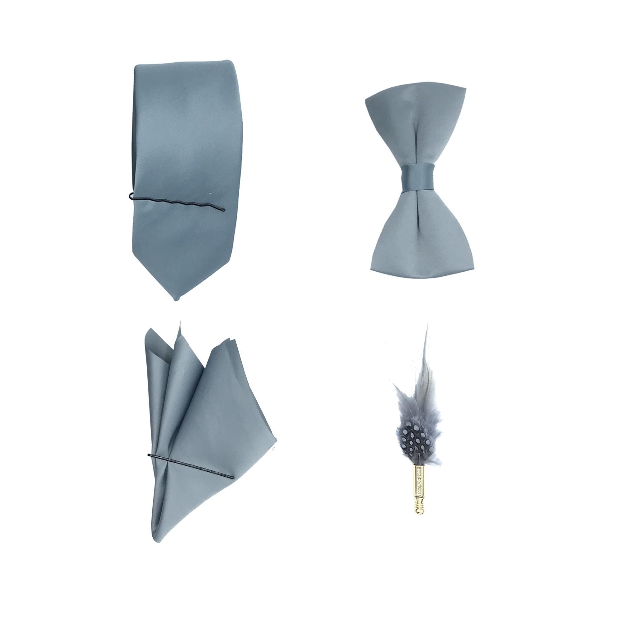 ست کراوات پاپیون دستمال جیب و گل کت مدل KPDG-1003