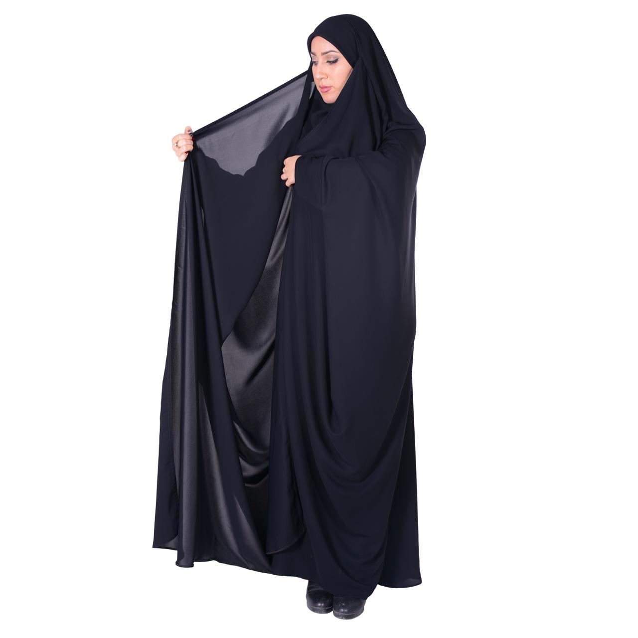 چادر بیروتی بحرینی کرپ حریرالاسود شهر حجاب مدل 8071