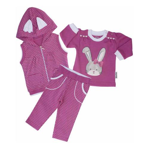 ست سه تکه لباس نوزادی آدمک طرح خرگوش کد 263300P