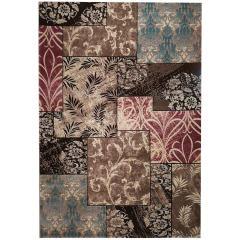 فرش ماشینی زمرد مشهد طرح  P014 زمینه  قهوه ای
