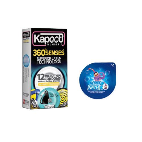 کاندوم کاپوت مدل 360 SENSE بسته 12 عددی به همراه کاندوم ناچ کدکس مدل بلیسر