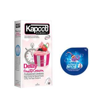 کاندوم کاپوت مدل FRUITY CREEAMY DELAY بسته 12 عددی به همراه کاندوم ناچ کدکس مدل بلیسر