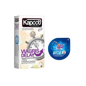 کاندوم کاپوت مدل VIAGRIS DELAY بسته 12 عددی به همراه کاندوم ناچ کدکس مدل بلیسر