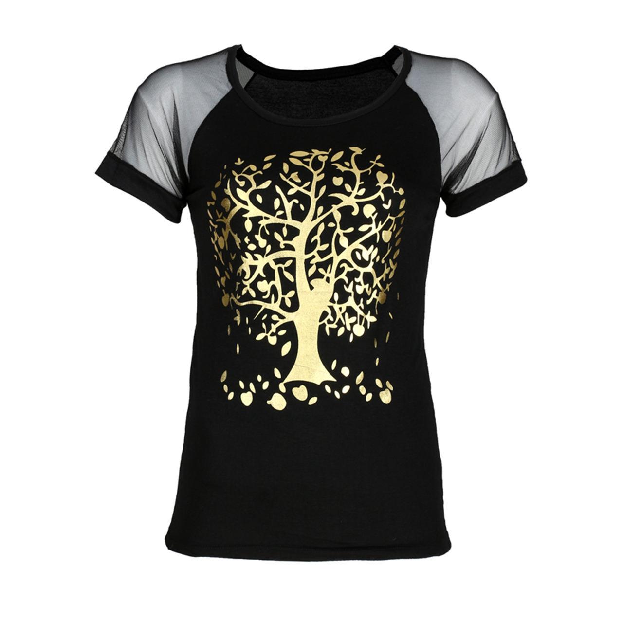 تیشرت زنانه طرح درخت طلایی مدل M12