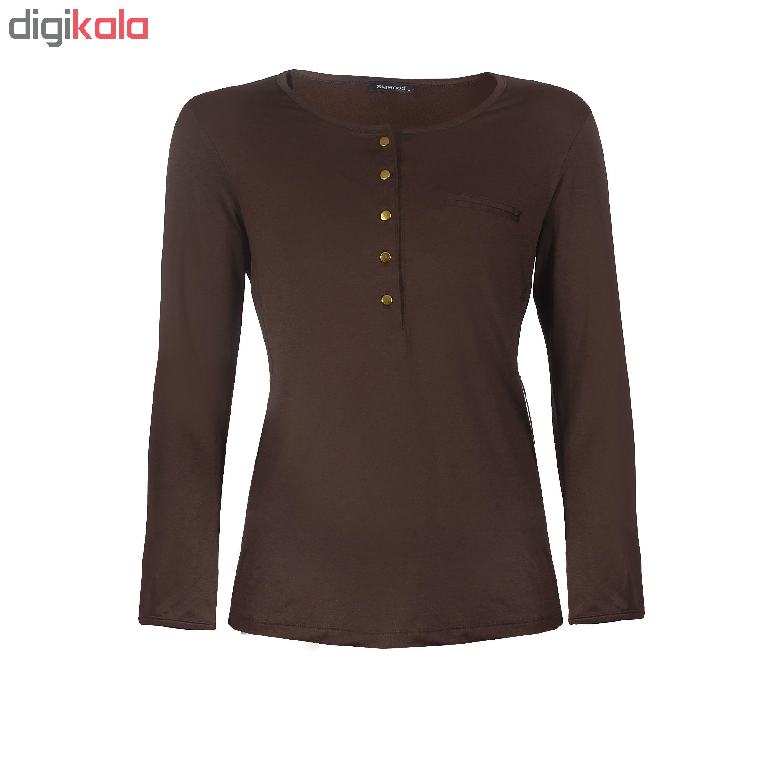 تی شرت زنانه سیاوود مدل KARA کد B0175 رنگ قهوه ای