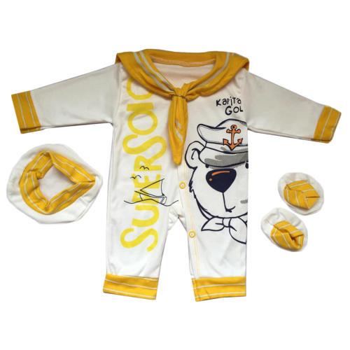 ست 3 تکه لباس نوزادی طرح ملوان کوچک کد 029