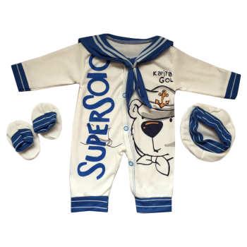 ست 3 تکه لباس نوزادی طرح ملوان کوچک کد 031 |