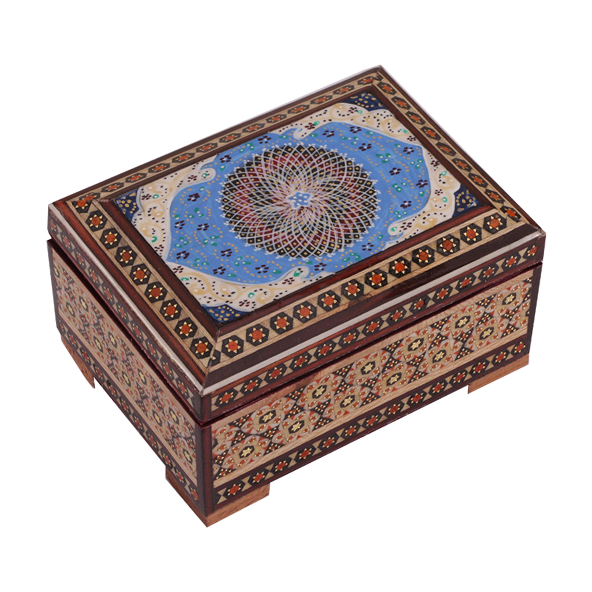 جعبه جواهرات خاتم کاری گالری گوهران مدل اسلیمی کد 477