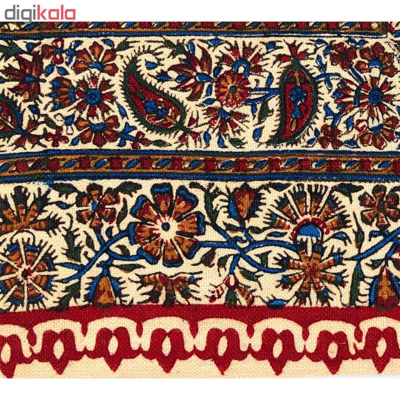 خرید                      رومیزی قلمکار ممتاز اصفهان اثر عطريان طرح لپ قرمز کدG142 سایز 150*50 سانتی متر