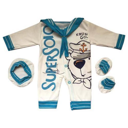 ست 3 تکه لباس نوزادی طرح ملوان کوچک کد 025