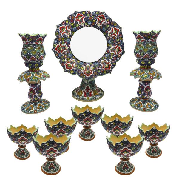 مجموعه ظروف هفت سین ده پارچه مینا کاری شده مدل  1100-Laleh