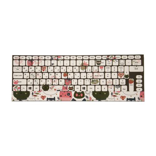 برچسب کیبورد طرح گربه کد 18 با حروف فارسی