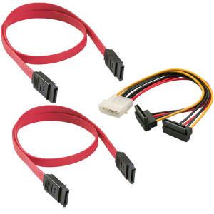 کابل تبدیل برق 4 پین به SATA مدل BAMA124 به همراه کابل دیتا SATA بسته دو عددی