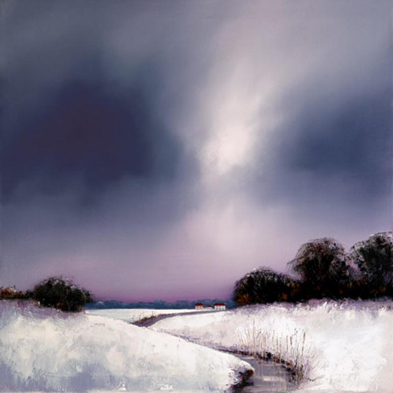 تابلو نقاشی رنگ و روغن طرح منظره برفی