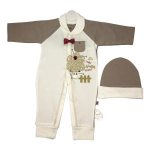 ست سرهمی و کلاه نوزادی بیبی دی طرح بره شیطون کد 2116