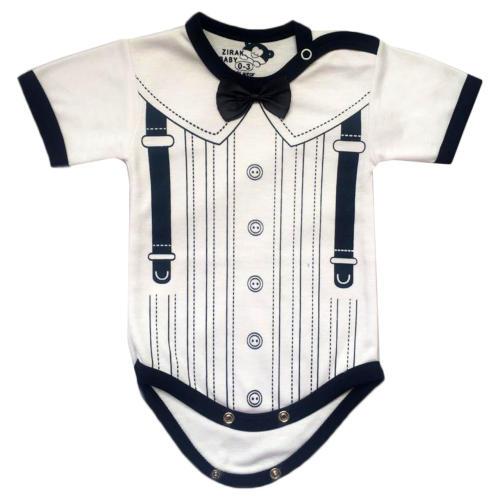 زیر دکمه دار آستین کوتاه نوزادی زیرک بیبی مدل توکستو