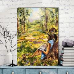 تابلو شاسی گالری استاربوی طرح دختر و طبیعت مدل نقاشی هنری 004