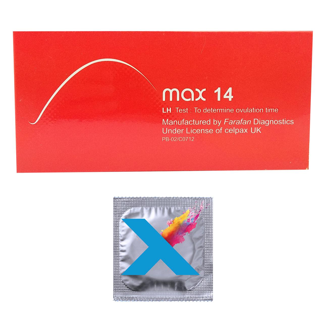 قیمت تست تخمک گذاری مکث 14 مدل LH بسته 5 عددی به همراه کاندوم مدل X