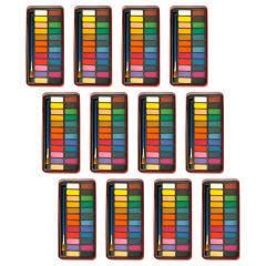 آبرنگ 24 رنگ جعبه فلزی پییرسز کد PZW0021 بسته 12 عددی