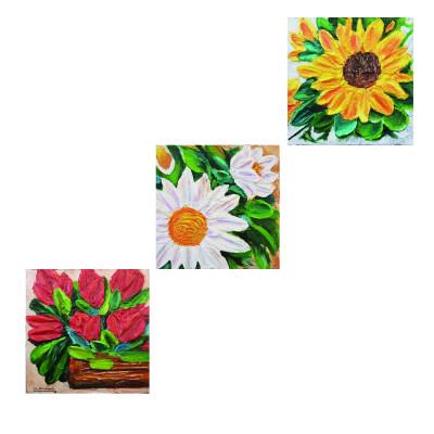 Photo of تابلو نقاشی اکریلیک طرح گل های برجسته