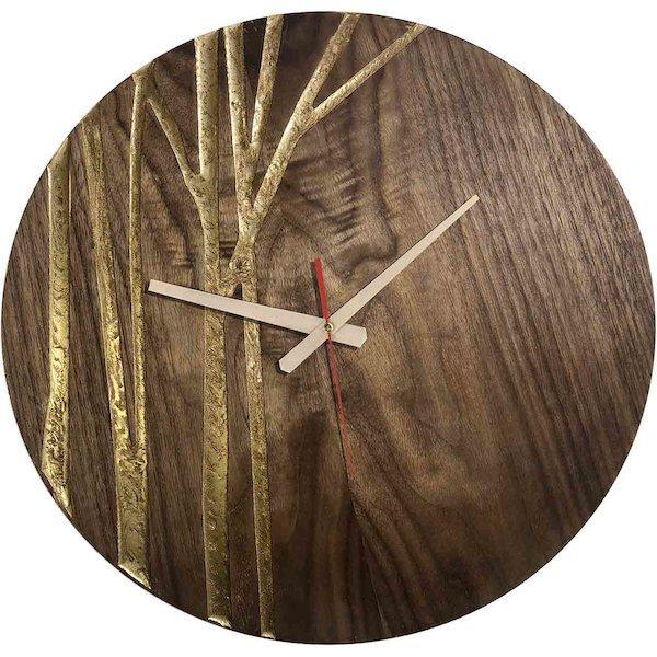 ساعت دیواری چوبی کد Vcgold 106