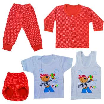 ست 5 تکه لباس نوزادی دخترانه نی نی ماید مدل 10_1  