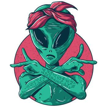استیکر لپ تاپ طرح Alien Gangster مدل P41