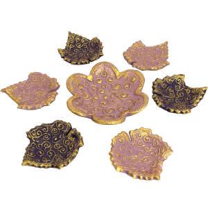 ظروف هفت سین 7 پارچه دست نگار طرح برگ اسلیمی کد 53