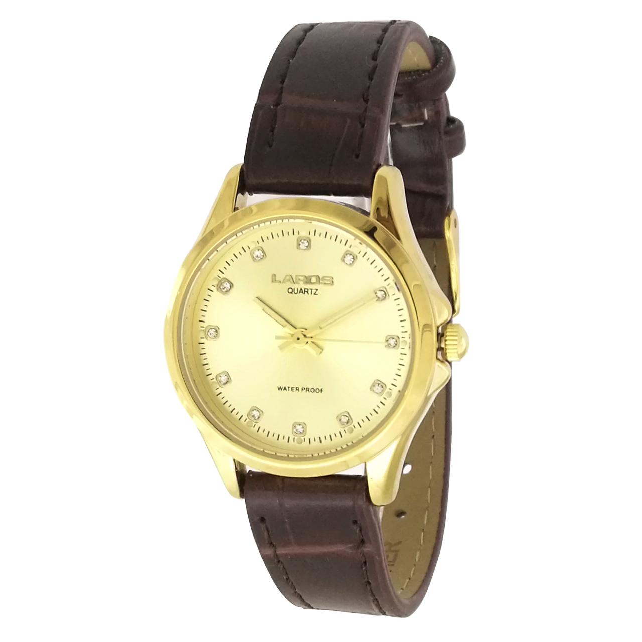 ساعت مچی عقربه ای زنانه لاروس مدل  0118-80227-s به همراه دستمال مخصوص برند کلین واچ