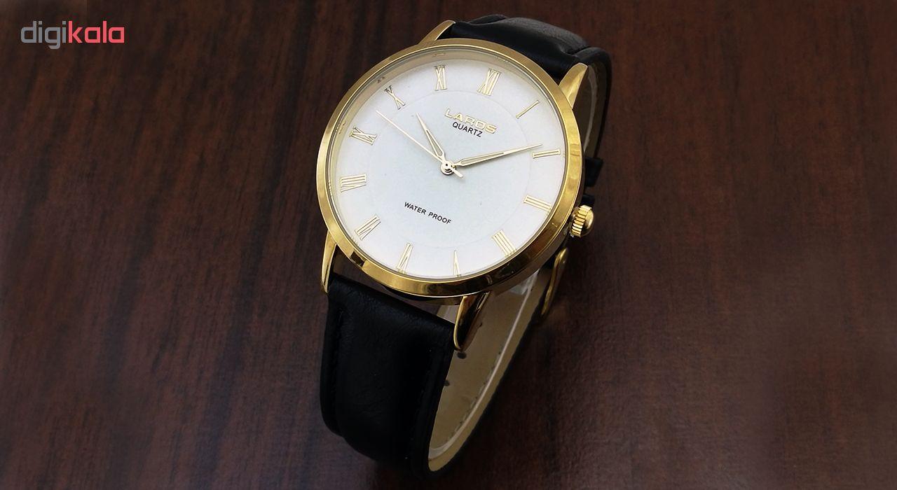 ساعت مچی عقربه ای مردانه لاروس مدل  0118-80207-s به همراه دستمال مخصوص برند کلین واچ