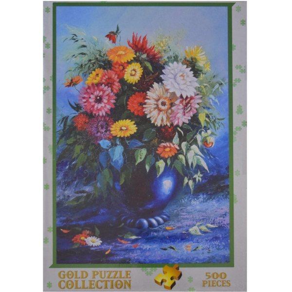 پازل 500 تکه گلد پازل طرح گلها در گلدان آبی کد 61482