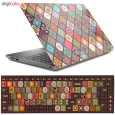 استیکر لپ تاپ طرح سنتی مناسب برای لپ تاپ 15 اینچ به همراه برچسب کیبورد  thumb 1