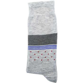 جوراب مردانه نانو گلکار مدل لاینست رنگ طوسی تیره تیره کد 14
