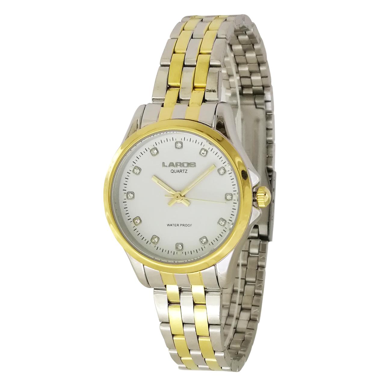 ساعت مچی عقربه ای زنانه لاروس مدل  0118-80227 به همراه دستمال مخصوص برند کلین واچ