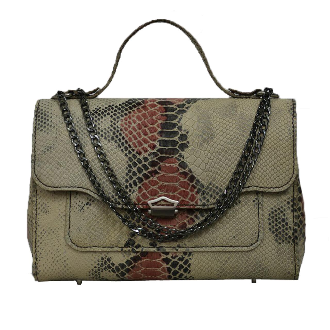 کیف دستی زنانه چرم دستدوز مژی مدل M66 سایز L