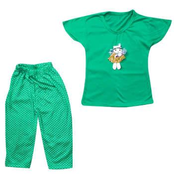 ست 2 تکه لباس راحتی دخترانه مدل Dolls رنگ سبز |
